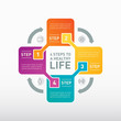 4 steps for a healthy life. Medical healthcare concept with 4 options, parts, steps or processes.