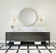 Leinwanddruck Bild Classic luxury bathroom with marble floor and black furniture