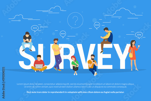 Online survey concept vector illustration of people using laptop and smartphone mobile app for fulfilling checklist or leaving a feedback for online service Tapéta, Fotótapéta