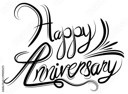 Valokuva Happy Anniversary Elegant Black White Calligraphy Handwriting