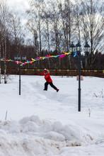 Little Girl Jumping Over Snow ...