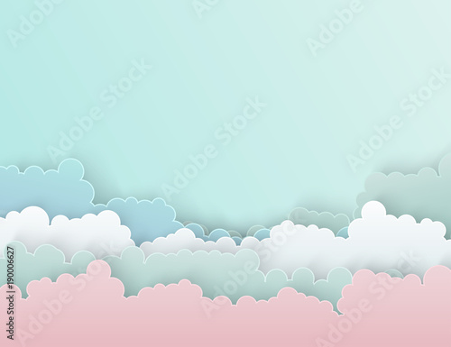Poster Bleu clair Paper art colorful fluffy clouds background with place for text. Modern 3d origami paper art style. Vector illustration. Pastel colors