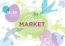 Spring Fair. Easter And Spring Elements On A White Background With Place For Text. Vector Template For The Poster / Banner / Invitation To The Spring Fair, Sale, Concert, Exhibition. Horizontal Format