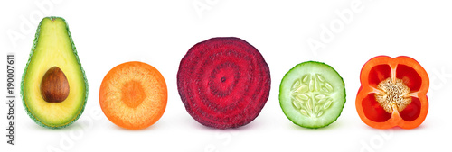 In de dag Verse groenten Isolated vegetable slices. Fresh vegetables cut in half (avocado, carrot, beetroot, cucumber, bell pepper) in a row isolated on white background with clipping path