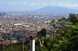 Panorámica de la ciudad Nápoles (Italia), con el volcán Vesubio de fondo.