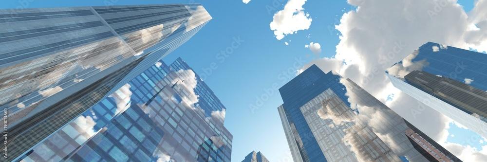 Fototapety, obrazy: Beautiful panorama of skyscrapers, 3D rendering
