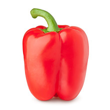 Red Sweet Pepper, Paprika, Clipping Path, Isolated On White Background