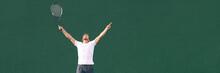 Tennis Player Man Winning Chee...