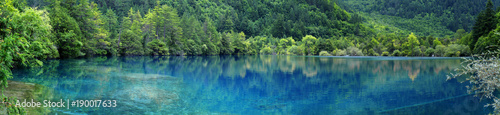 view of colorful lake in jiuzhaigou national park, Sichuan, china