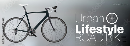 Realistic road bike Black Carbon sport bike isolated on gradient background Vector Illustration for directory Poster Web Horizontal Banner Advertising Bicycle rental Signboard