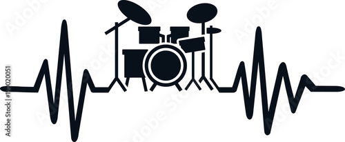 Photo Drummer heartbeat line with drums