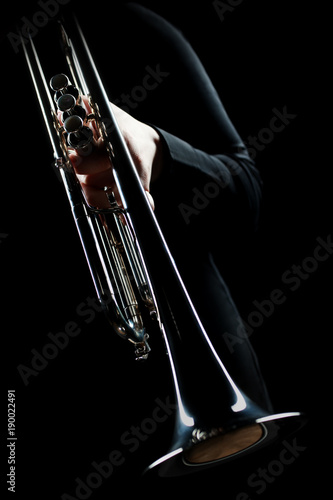Poster Musique Trumpet player. Trumpeter music playing jazz instrument