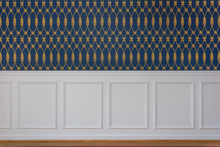 White Wood Trim And Blue Wallpaper