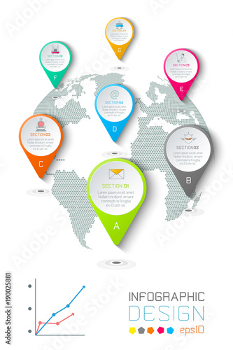 Plagát  Seven circles with business icon infographics on world map background