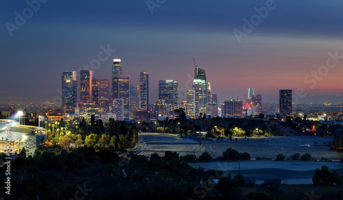 Poster New York Los Angeles Skyline from Elysian Park