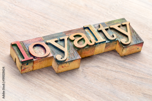 Obraz na plátně loyalty word abstract in wood type