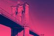 Leinwanddruck Bild - Brooklyn Bridge in Pink and Blue New York City