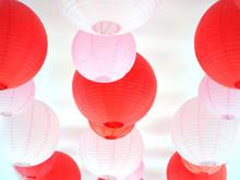 Red And Pink Lanterns Hanging ...
