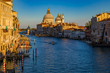 Sunset view of the iconic 17th-century Santa Maria di Salute Basilica on the Grand Canal in Venice