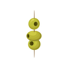 Green Pickled Olives On A Wood...