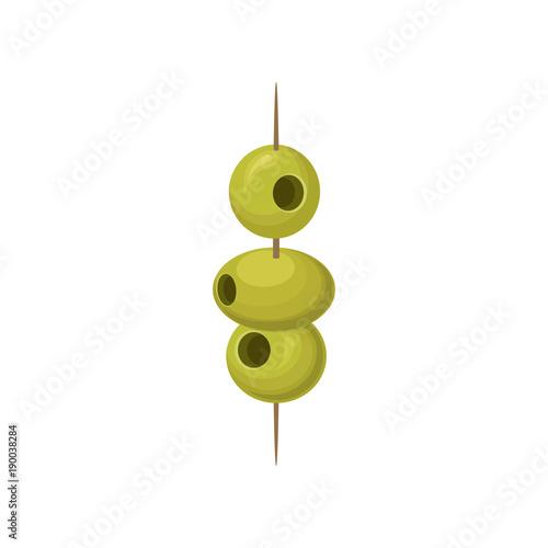 Photo Green pickled olives on a wooden cocktail stick vector Illustration