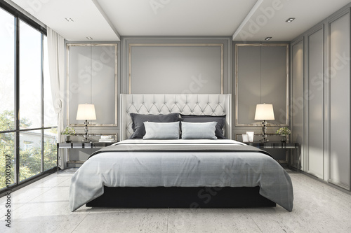 Fotografia  3d rendering modern luxury classic bedroom with marble decor
