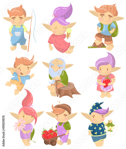 Cute troll characters set, funny creatures with colored hair in different situat Canvas Print
