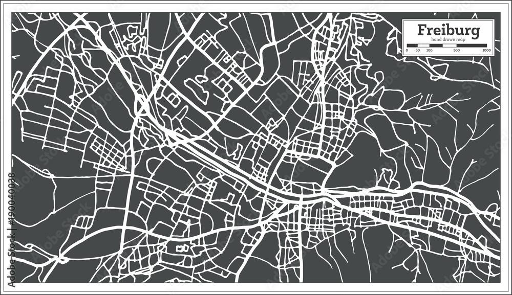 Fototapety, obrazy: Freiburg Germany City Map in Retro Style. Outline Map.
