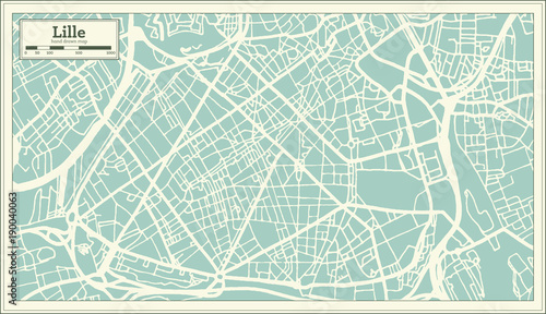 Fototapety, obrazy: Lille France City Map in Retro Style. Outline Map.