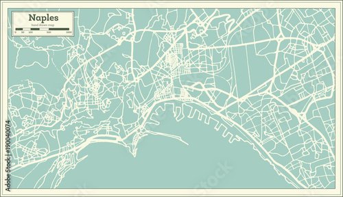 Naples Italy City Map in Retro Style. Outline Map. Fototapet