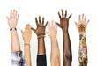 canvas print picture - Diversity hands raised up gesture