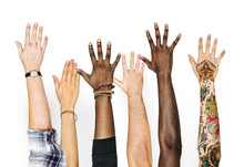 Diversity Hands Raised Up Gest...