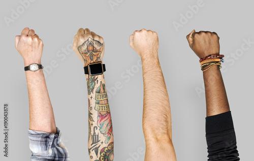 Fotografie, Tablou  Variation raising hands up