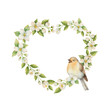 Watercolor vector frame in the shape of a heart with bird and flowers Jasmine isolated on a white background.