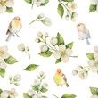 Watercolor vector seamless pattern with bird and flowers Jasmine isolated on a white background.