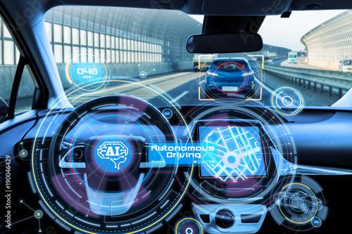 Fotografía  Cockpit of autonomous car and AI(Artificial Intelligence)