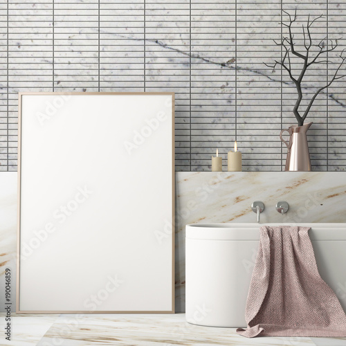 Fotografia  Mock up poster in the bathroom in a modern style 3d