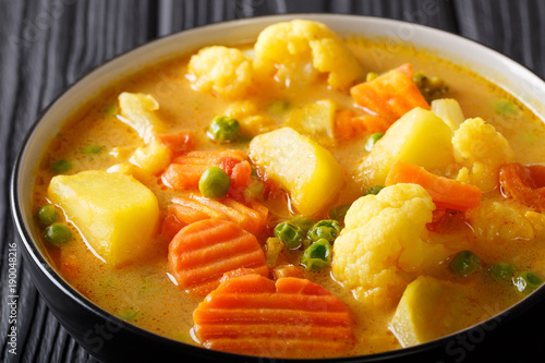 Obraz Vegetarian vegetable curry with coconut milk close-up in a bowl on the table. horizontal - fototapety do salonu