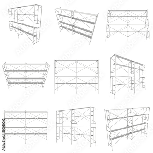 Fototapeta Scaffolding metal construction set isolated on white