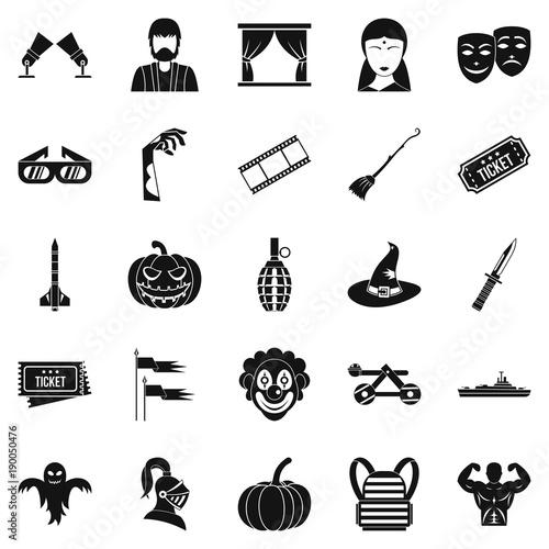 Fotografie, Obraz  Filmmaker icons set, simple style