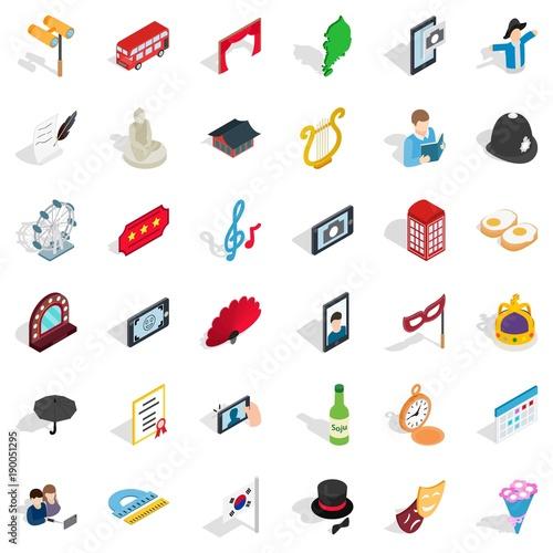 Vászonkép Good manners icons set, isometric style