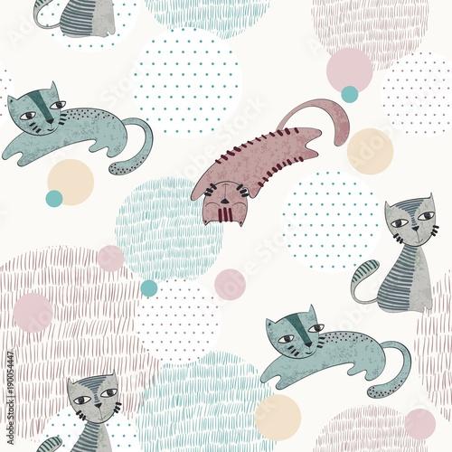 wzor-dla-dzieci-z-wesolymi-kotkami