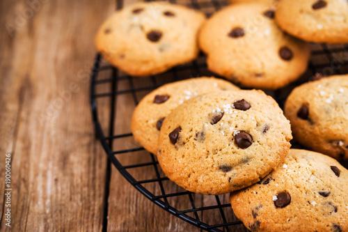 Tuinposter Koekjes Homemade freshly baked chocolate chips cookies