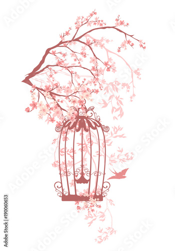 Photo swallow bird and cage among pink flowers and tree branches - spring season flora