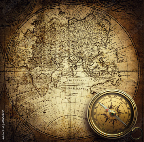 Poster Retro Compass on vintage map. Adventure, travel, stories background.