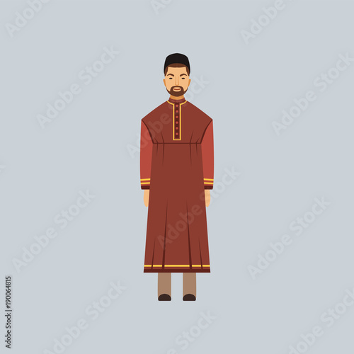 Muslim man in tradition costume, representative of religious confession vector I Tablou Canvas