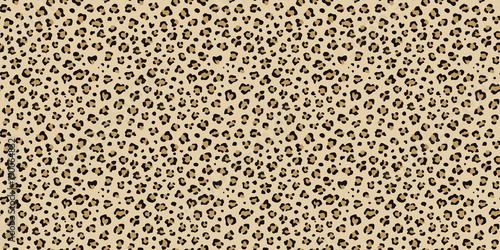 obraz PCV Leopard seamless vector pattern. Cheetah orange, brown, black repeating texture. Seamless wallpaper, fashion textile background. Wild cat print.
