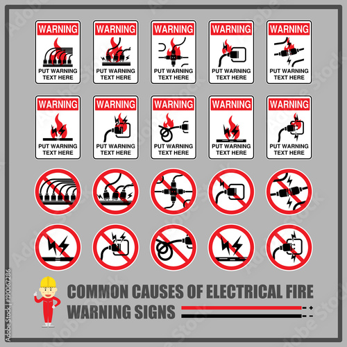 Set of safety warning signs and symbols for causes of common ...