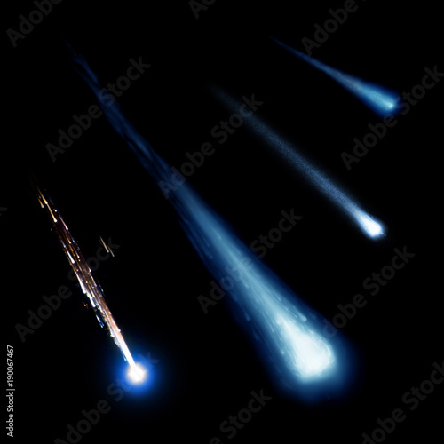 Blue meteor and comets collection isolated on black background. Elements of this image furnished by NASA.