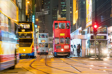 Traditional Tramways Cars In Downtown Central, Hong Kong